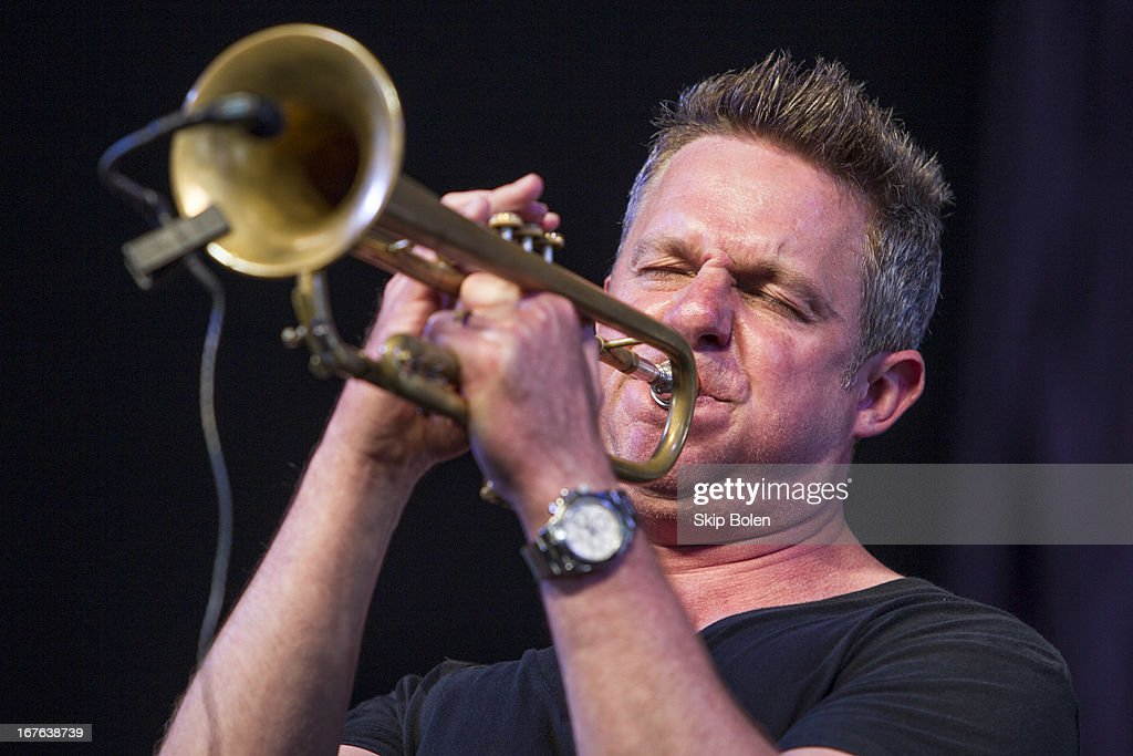 Trumpeter and singer-songwriter Jeremy Davenport performs during the 2013 New Orleans Jazz & Heritage Music Festival at Fair Grounds Race Course on April 26, 2013 in New Orleans, Louisiana.