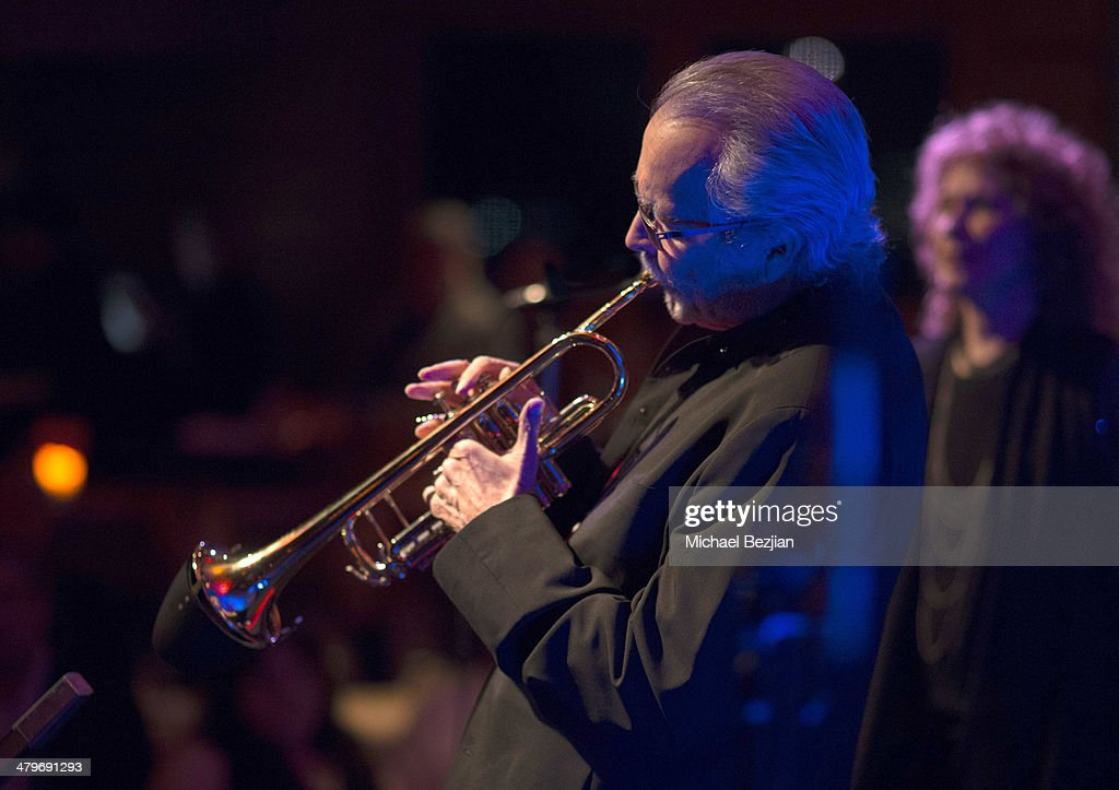 Trumpeter <a gi-track='captionPersonalityLinkClicked' href=/galleries/search?phrase=Herb+Alpert&family=editorial&specificpeople=700404 ng-click='$event.stopPropagation()'>Herb Alpert</a> and Singer Lani Hall perform at <a gi-track='captionPersonalityLinkClicked' href=/galleries/search?phrase=Herb+Alpert&family=editorial&specificpeople=700404 ng-click='$event.stopPropagation()'>Herb Alpert</a> And Lani Hall Performance At Vibrato Grill at Vibrato Grill Jazz on March 19, 2014 in Beverly Hills, California.