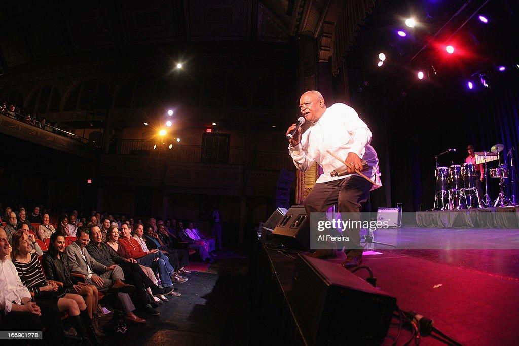 Trumpeter Hugh Masekela performs in concert at Tarrytown Music Hall on April 17, 2013 in Tarrytown, New York.