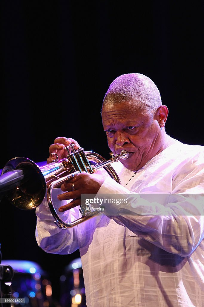 Trumpeter Hugh Masekela performs in concert at Tarrytown Music Hall on April 17, 2013 in Tarrytown, New York.