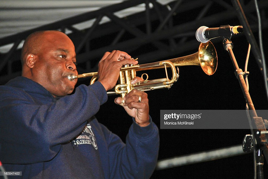 Trumpeter James Andrews performs during the Verizon Super Bowl Boulevard at Woldenberg Park on February 1, 2013 in New Orleans, Louisiana.