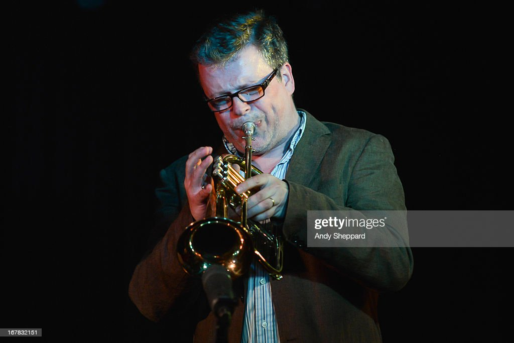 Trumpeter James McMillan performs on stage at Pizza Express Jazz Club on April 25, 2013 in London, England.