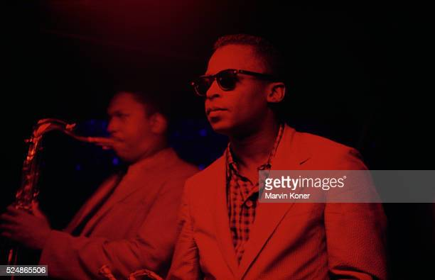 Trumpeter Miles Davis and saxophonist John Coltrane performing at Jazz club Cafe Bohemia in New York City in 1956