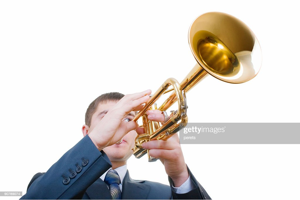 trumpeter (with clipping path) : Stock Photo