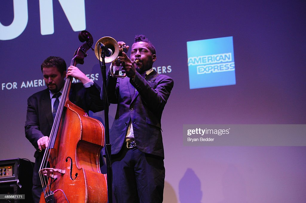 Trumpeter Roy Hargrove performs at the 'Keep On Keepin' On' world premiere exclusively for American Express Card Members at BMCC Tribeca PAC on April 19, 2014 in New York City.
