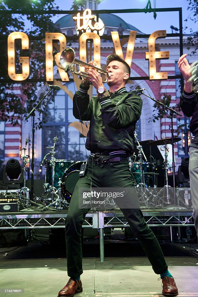 Trumpeter Spencer Ludwig of Capital Cities performs at the 2013 Grove summer concert series at The Grove on July 24, 2013 in Los Angeles, California.
