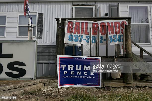 Trump/Pence sign in front of a bail bonds service situated in a mobile home in Wilmington Ohio on January 19 the eve of Donald J Trump's Inauguration...