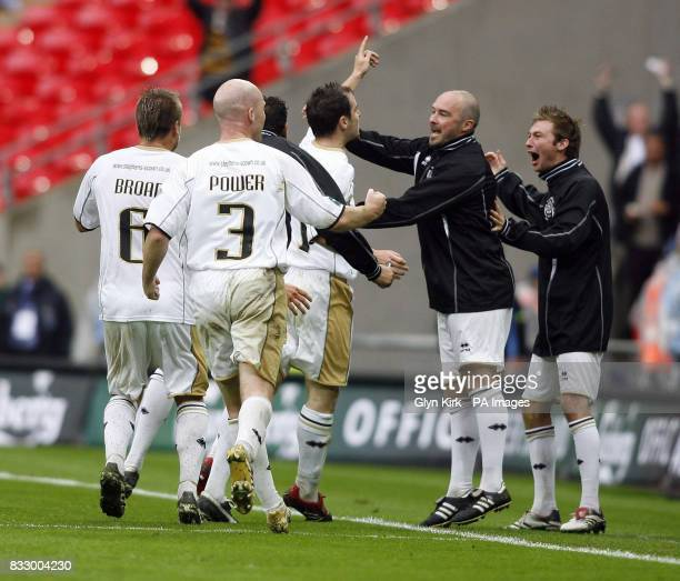 Truro celebrate Kevin Wills' equalizer against AFC Totton uring the FA Carlsberg Vase Final at Wembley Stadium London