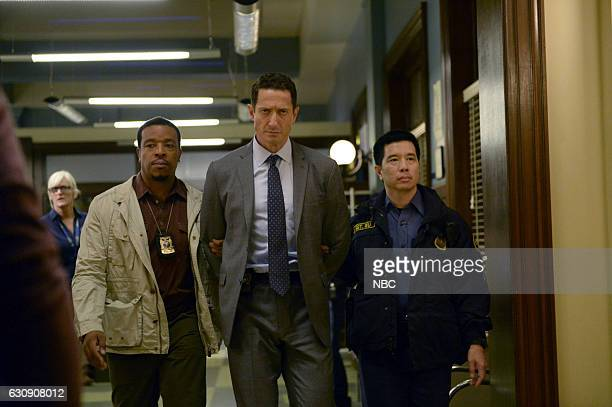 GRIMM 'Trust Me Knot' Episode 602 Pictured Russell Hornsby as Hank Griffin Sasha Roiz as Sean Renard Reggie Lee as Sergeant Wu