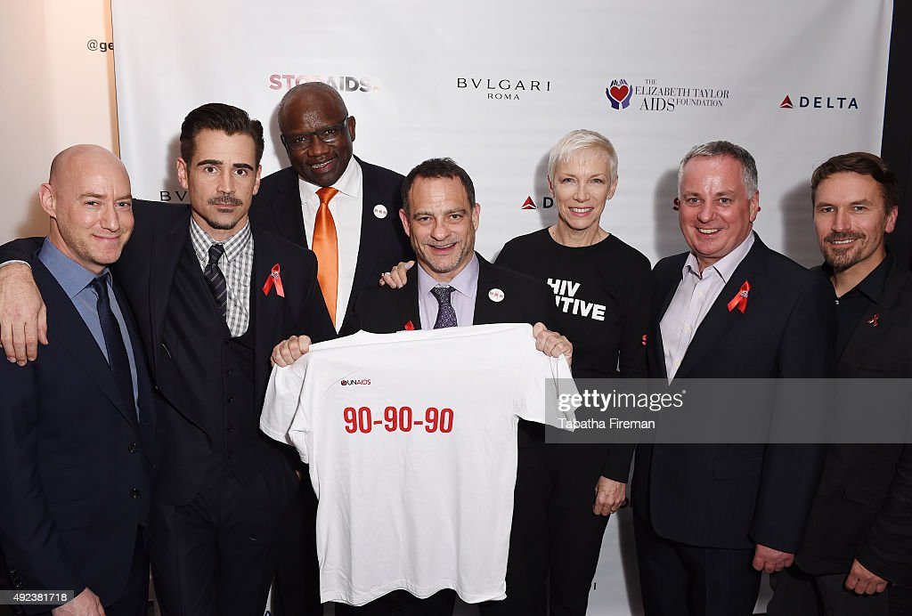 Trustee of The Elizabeth Taylor AIDS Foundation Tim Mendelson, Actor and Ambassador to The Elizabeth Taylor AIDS Foundation Colin Farrell, Dr. Badara Samb, UNAIDS Director of Special Initiatives, Managing Director of The Elizabeth Taylor AIDS Foundation Joel Goldman, UNAIDS Goodwill Ambassador Annie Lennox, Rt Hon Lord McConnell of Glenscorrodale and Director of STOPAIDS Mike Podmore attend press event to announce a new push to fast-track the end of the AIDS epidemic in the Mulanje District of Malawi at Getty Images Gallery on October 12, 2015 in London, England. The initiative is being led by The Elizabeth Taylor AIDS Foundation and STOPAIDS.