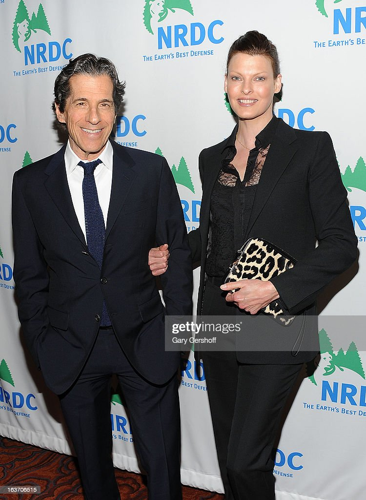 Trustee Peter Morton (L) and Linda Evangelista attend the 2013 National Resource Defense Council Game Changer Awards at the Mandarin Oriental Hotel on March 14, 2013 in New York City.