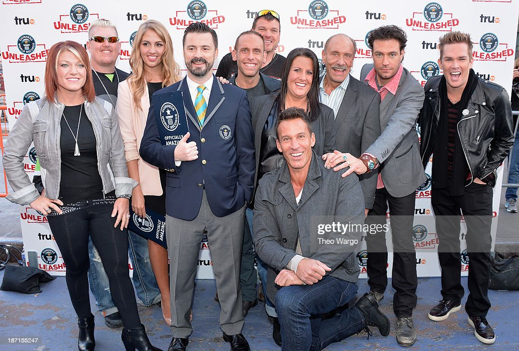 truTV's Amy Shirley, Ron Shirley, Liz Smith, Stuart Claxton, Seth Gold, Bobby Brantley, Ashley Broad, <a gi-track='captionPersonalityLinkClicked' href=/galleries/search?phrase=Dan+Cortese&family=editorial&specificpeople=754844 ng-click='$event.stopPropagation()'>Dan Cortese</a>, Les Gold, Zach Selwyn, and <a gi-track='captionPersonalityLinkClicked' href=/galleries/search?phrase=Mark+McGrath+-+Singer&family=editorial&specificpeople=171653 ng-click='$event.stopPropagation()'>Mark McGrath</a> pose at the Guinness World Records Unleashed Arena in Times Square on November 6, 2013 in New York City. (Photo by Theo Wargo/WireImage) 24244_003_TW_0151.JPG