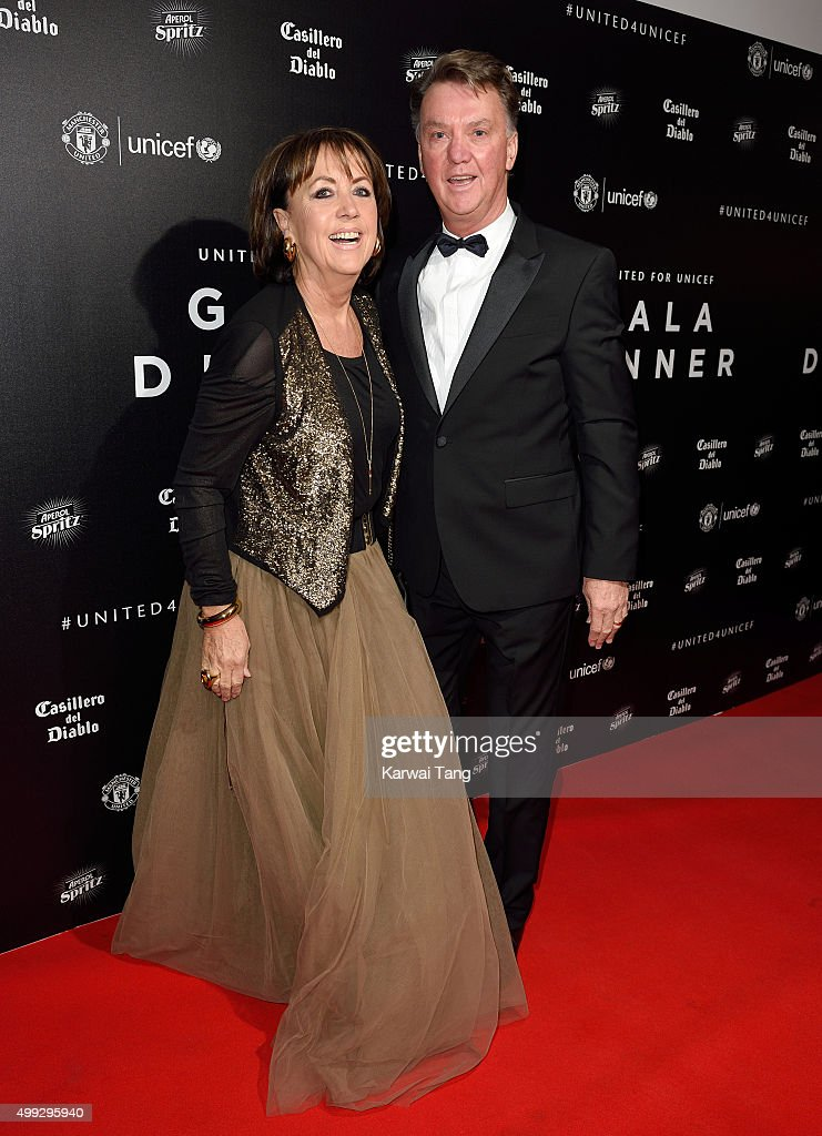 Truus van Gaal and Louis van Gaal attend the United for UNICEF Gala Dinner at Old Trafford on November 29, 2015 in Manchester, England.