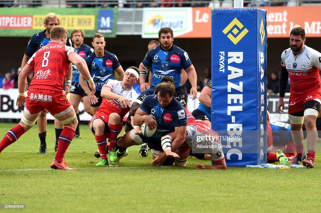 Try for Montpellier by Bismarck du Plessis of Montpellier during the French Top 14 rugby union match between Montpellier v Grenoble on April 30, 2016 in Montpellier, France.