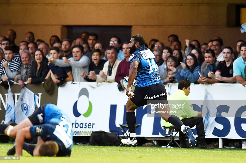 Try for Montprelier by Jim Nagusa during the rugby Top 14 match between Montpelier and RC Toulon on May 29, 2016 in Montpellier, France.