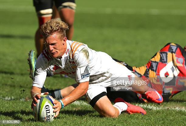 try scorer Damian McKenzie of the Chiefs in action during the 2016 Super Rugby match between Southern Kings and Chiefs at Nelson Mandela Bay Stadium...