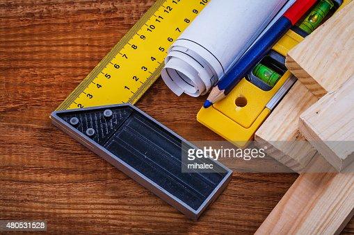 Versuche square Bleistift Entwürfe umgesetzt hölzernen Stollen-Design-Ebene auf : Stock-Foto