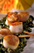 Try this quick meal for dinner seared scallops over baby spinach