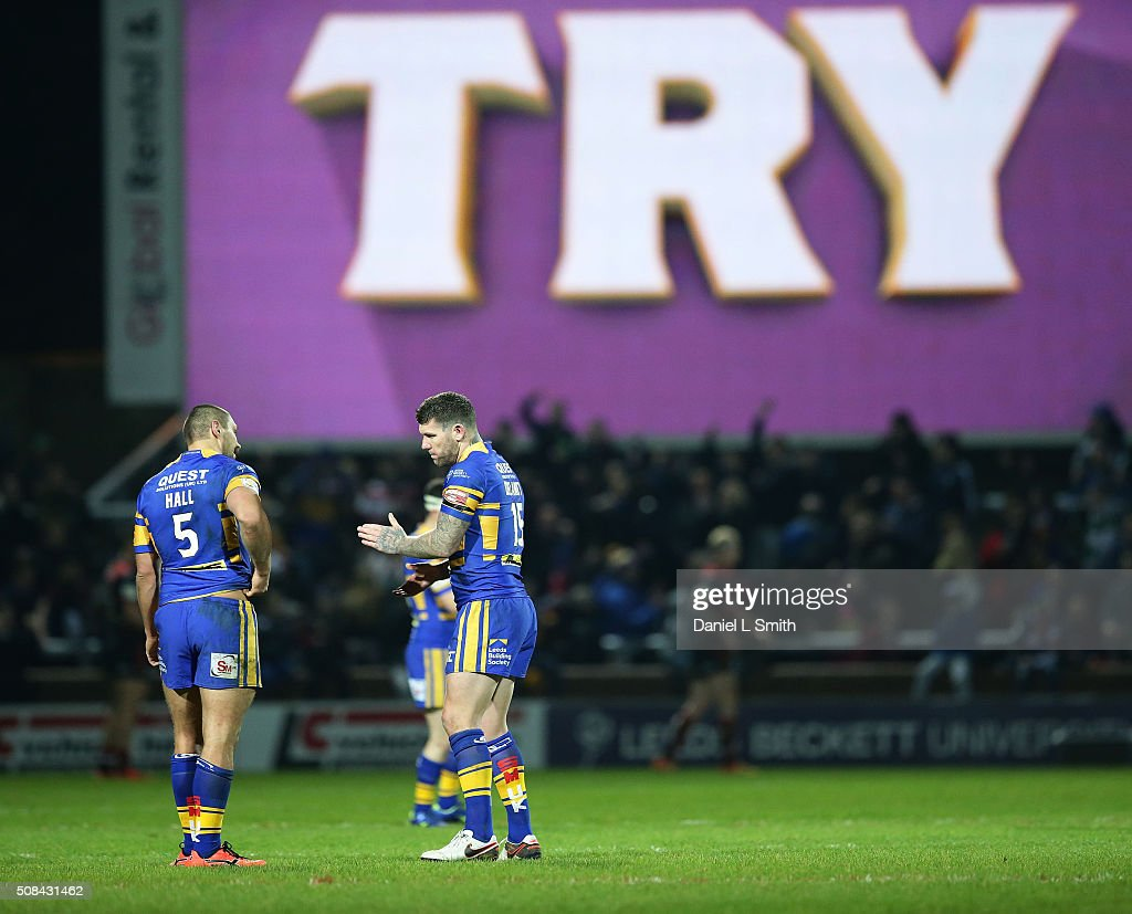 A try was awarded to Brad Singleton of Leeds Rhinos (not pictured) by the video referee during the First Utility Super League opening match between Leeds Rhinos and Warrington Wolves at Headingley Carnegie Stadium on February 4, 2016 in Leeds, England.