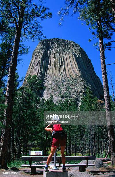 Trying to get the huge Devils Tower National Monument in focus. The volcanic plug rises to 865 feet.