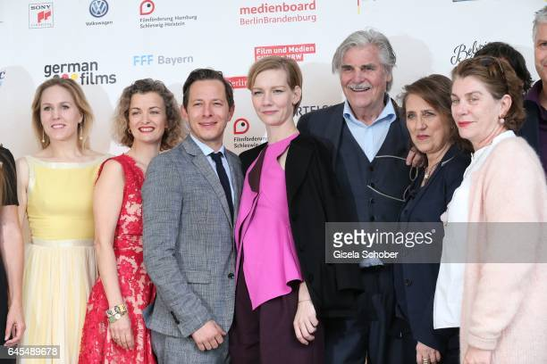 Trystan Puetter Sandra Hueller and Peter Simonischek cast 'Toni Erdmann' during the German Oscar nominees reception at The Villa Aurora on February...