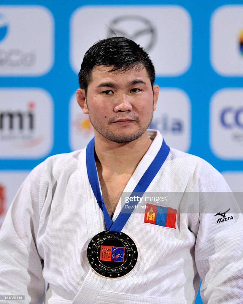 Tsagaanbaatar Khashbaatar of Mongolia won the u73kgs gold medal during the Paris Grand Slam on day 1 February 09, 2013 at the Palais Omnisports de Paris, Bercy, Paris, France.