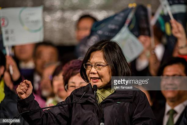 Tsai Ingwen deliver victory speach to supporters at DPP headquarters after her election victory on January 16 2016 in Taipei Taiwan Tsai Ingwen the...