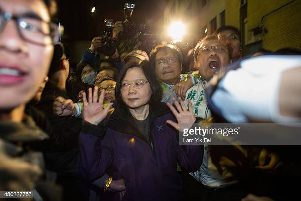 Tsai Ingwen member of opposition Democratic Progressive Party attends a protest where students clashed with riot police outside the Executive Yuan a...