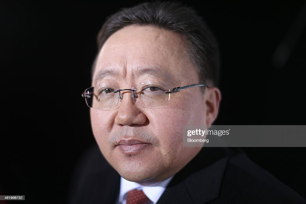 Tsakhia Elbegdorj, Mongolia's president, poses for a photograph following a Bloomberg Television interview on day two of the World Economic Forum (WEF) in Davos, Switzerland, on Thursday, Jan. 22, 2015. World leaders, influential executives, bankers and policy makers attend the 45th annual meeting of the World Economic Forum in Davos from Jan. 21-24. Photographer: Simon Dawson/Bloomberg via Getty Images