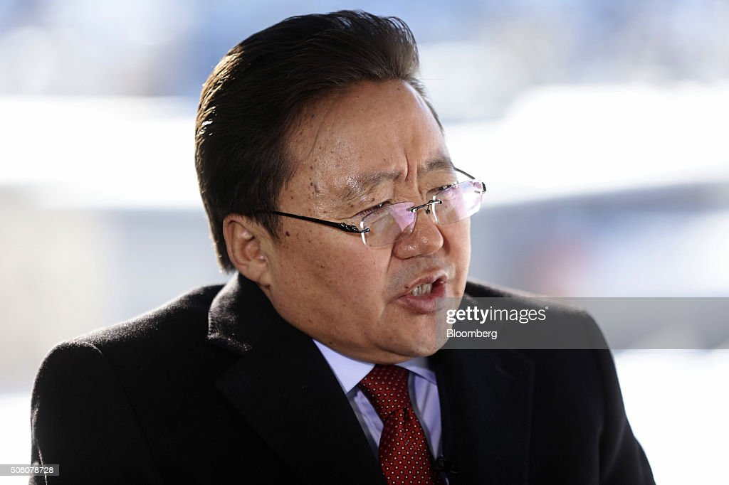 Tsakhia Elbegdorj, Mongolia's president, speaks during a Bloomberg Television interview at the World Economic Forum (WEF) in Davos, Switzerland, on Thursday, Jan. 21, 2016. World leaders, influential executives, bankers and policy makers attend the 46th annual meeting of the World Economic Forum in Davos from Jan. 20 - 23. Photographer: Simon Dawson/Bloomberg via Getty Images