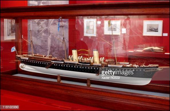 Tsar in Compiegne exhibition the 1901 visit of Tsar Nicholas II to France in Compiegne France on October 19 2001 Model of the Standart yacht of the...