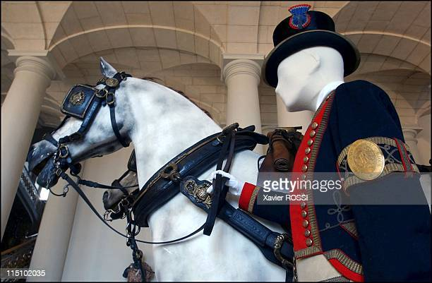 Tsar in Compiegne exhibition the 1901 visit of Tsar Nicholas II to France in Compiegne France on October 19 2001 Guard of the parade coach
