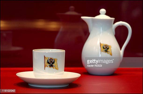 Tsar in Compiegne exhibition the 1901 visit of Tsar Nicholas II to France in Compiegne France on October 19 2001 Crockery of the Standart Nicholas...