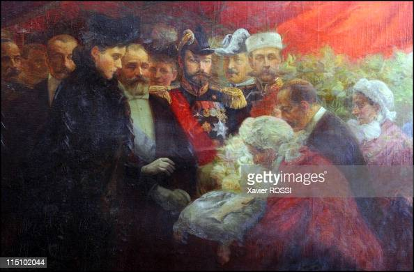 Tsar in Compiegne exhibition the 1901 visit of Tsar Nicholas II to France in Compiegne France on October 19 2001 The Bazennes present the Russian...