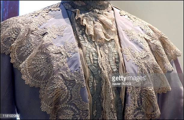 Tsar in Compiegne exhibition the 1901 visit of Tsar Nicholas II to France in Compiegne France on October 19 2001 Grey silk and lace dress Empress...