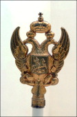Tsar in Compiegne exhibition the 1901 visit of Tsar Nicholas II to France in Compiegne France on October 19 2001 Pole top Russian eagles showing St...
