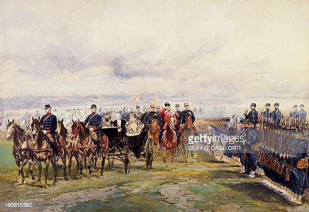 Tsar Nicholas II and French President Felix Faure inspecting the troops at Chalon sur Maune October 9 watercolour by Edouard Detaille France 19th...