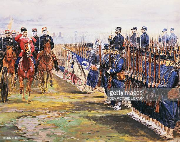 Tsar Nicholas II of Russia and French President Felix Faure inspecting the troops in ChalonsurMarne October 9 by Edouard Detaille watercolour and...