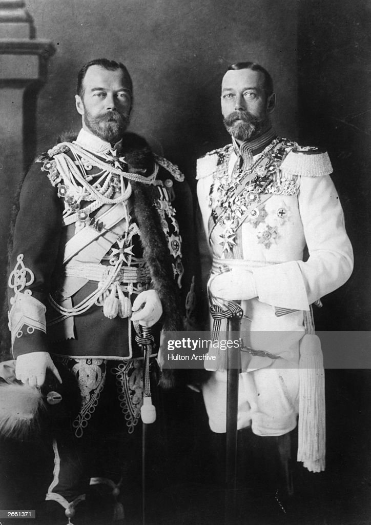 Tsar Nicholas II of Russia (1868 - 1918) with King George V of England (1865 - 1936), both in full military regalia.