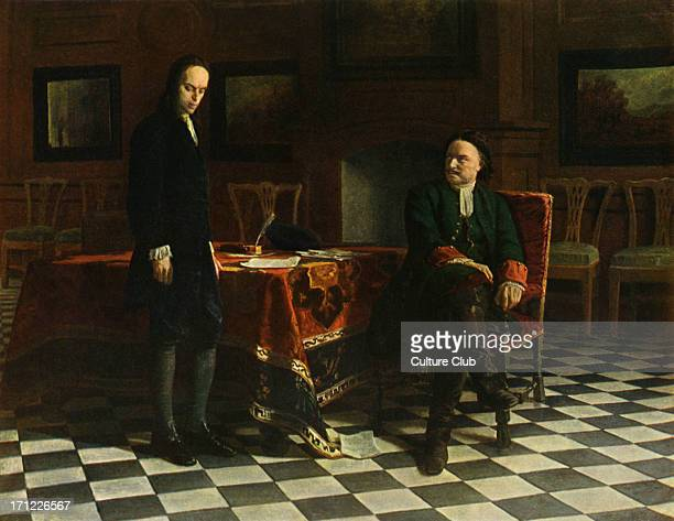 Tsar Peter I of Russia with his son Alexei painting by N Gué Original held at the State Russian Museum St Petersburg RussiaPeter the Great real name...