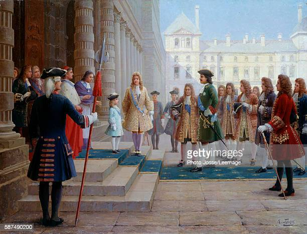 Tsar Peter the Great hosted by Louis XV child at Versailles in 1717 Painting by Gorsky 19th century Peterhof Castle Saint Petersburg Russia