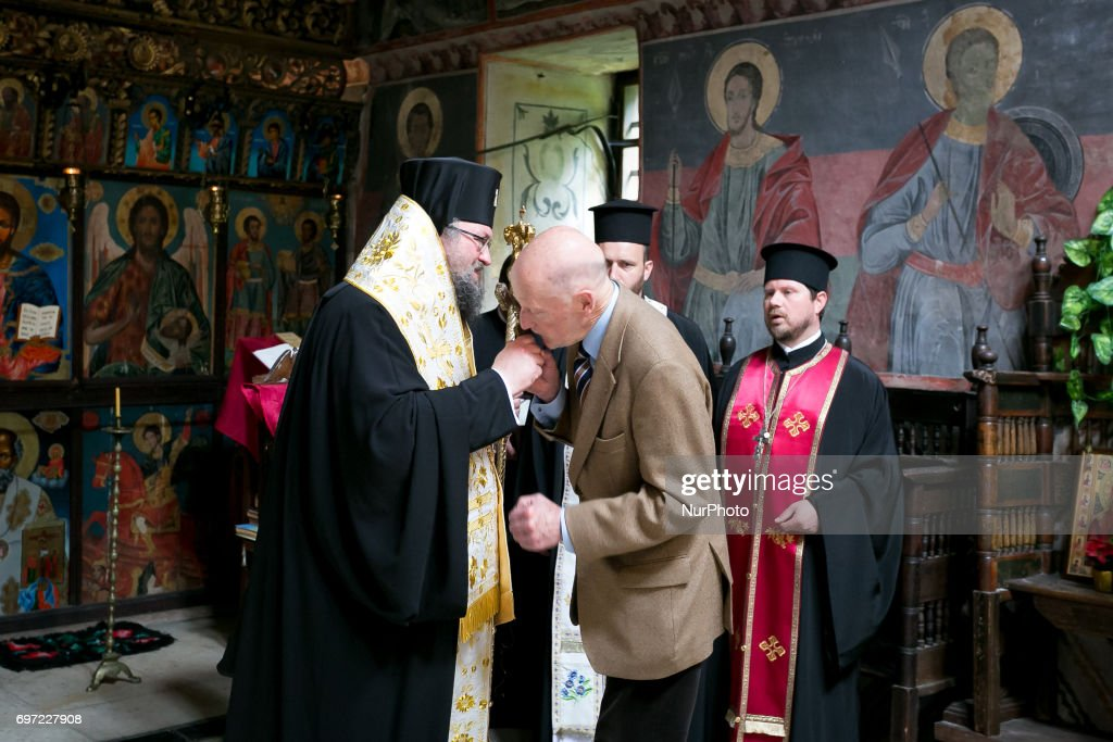 Tsar Simeon kisses the Metropolitan Gregory of Vratsa at the Cherepish Monastery in Vratsa region, Bulgaria on 17 June 2017.
