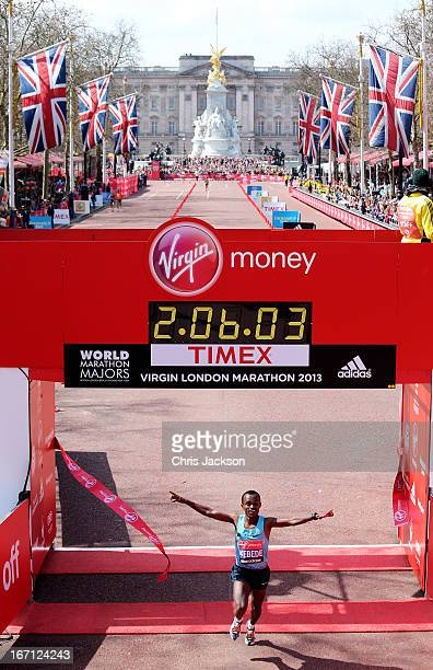 Tsegaye Kebede of Ethiopia crosses the finish line to win the Mens Elite section during the Virgin London Marathon 2013 on April 21 2013 in London...