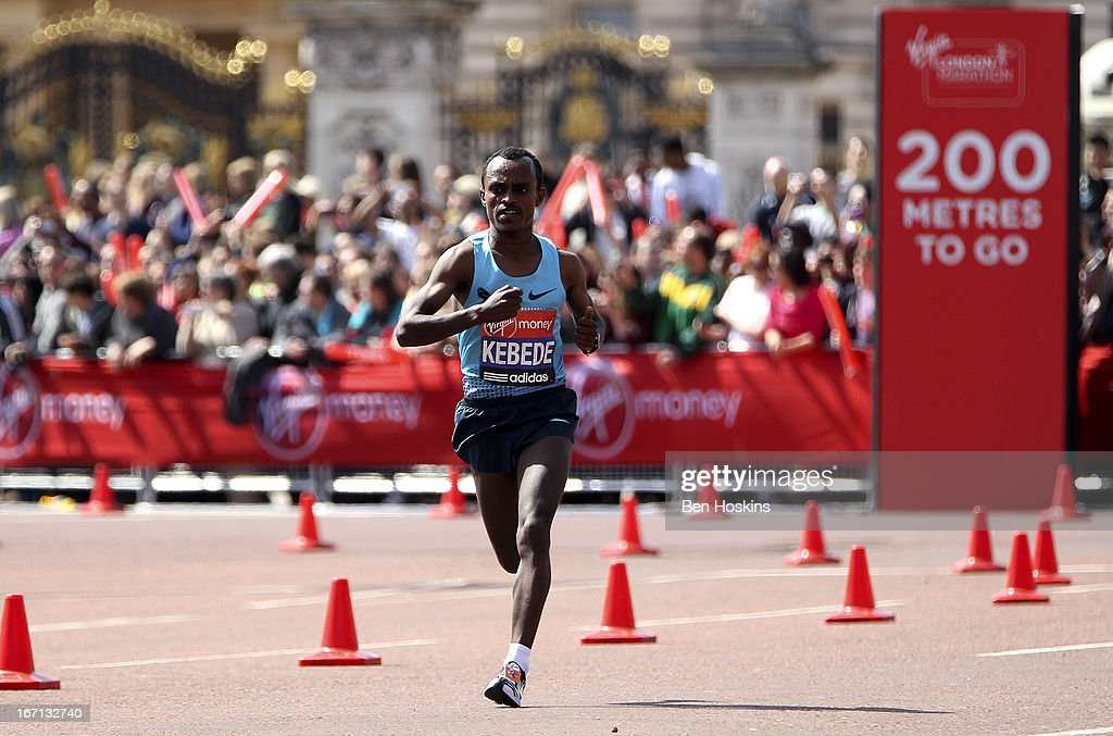 Tsegaye Kebede of Kenya runs down The Mall towards the finish line and winning the Elite Men's race during the Virgin London Marathon 2013 on April 21, 2013 in London, England.
