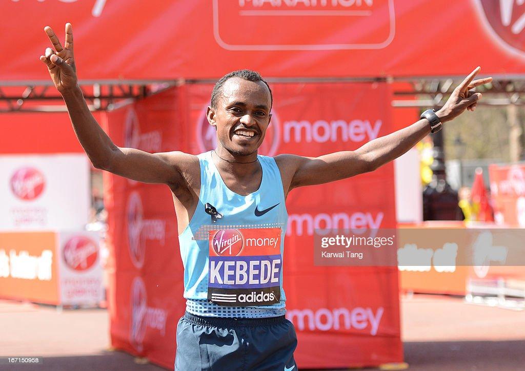 Tsegaye Kebede wins the Elite men's race at the Virgin London Marathon on April 21, 2013 in London, England.