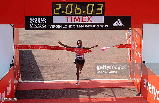 Tsegaye Kebede wins the Men's Elite section in the 2013 Virgin London Marathon on April 21 2013 in London England