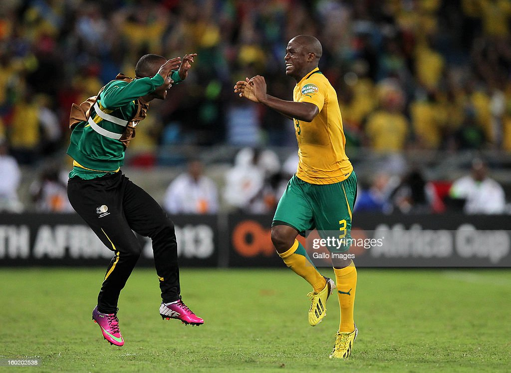 AFRICA - JANUARY 27, Tsepo Peter Masilela of South Africa celebrates their second goal during the 2013 Orange African Cup of Nations match between South Africa and Morocco from Moses Mabhida Stadium on January 27, 2013 in Durban, South Africa.
