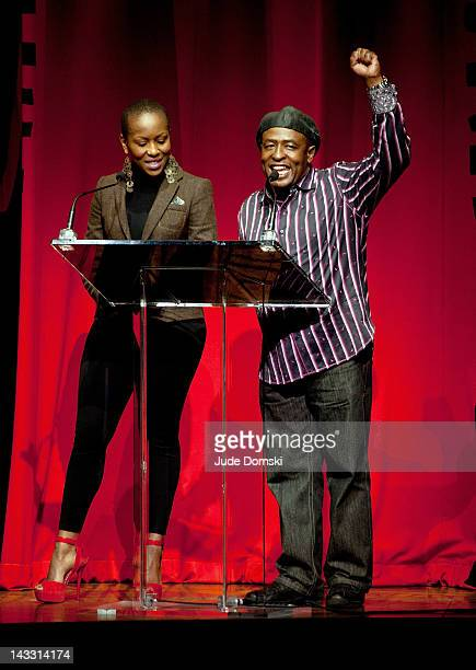 Tshidi Manye and Ron Kunene at Broadway Cares/Equity Fights AIDS 26th Annual Easter Bonnet Competition at the Minskoff Theatre on April 23 2012 in...
