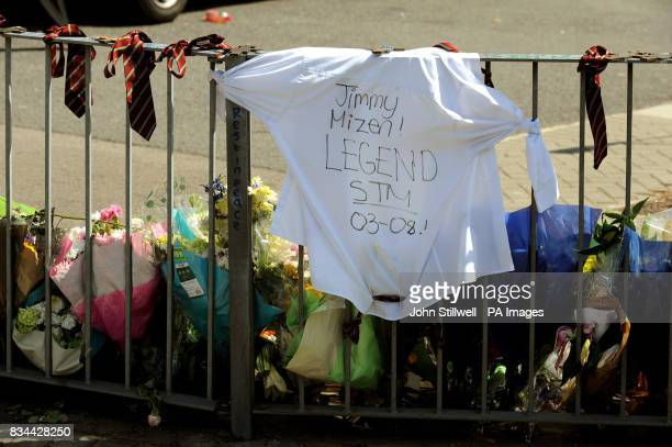 A tshirt and school ties from St Thomas More School in Eltham south east London are placed on railings close to where 16 yearold Jimmy Mizen was...