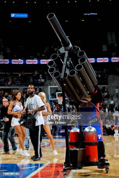 A tshirt cannon is used to fire Detroit Pistons shirts to fans during a game against the Oklahoma City Thunder on November 12 2012 at The Palace of...